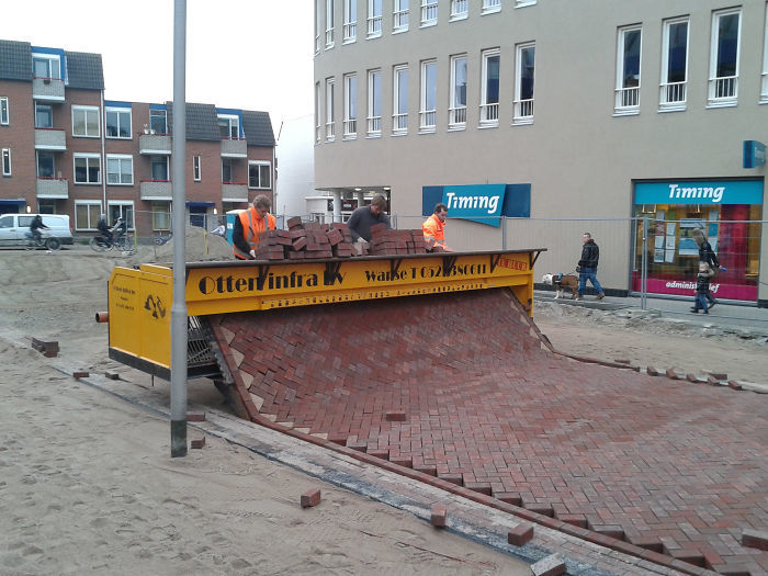 This is how brick streets are laid in the Netherlands