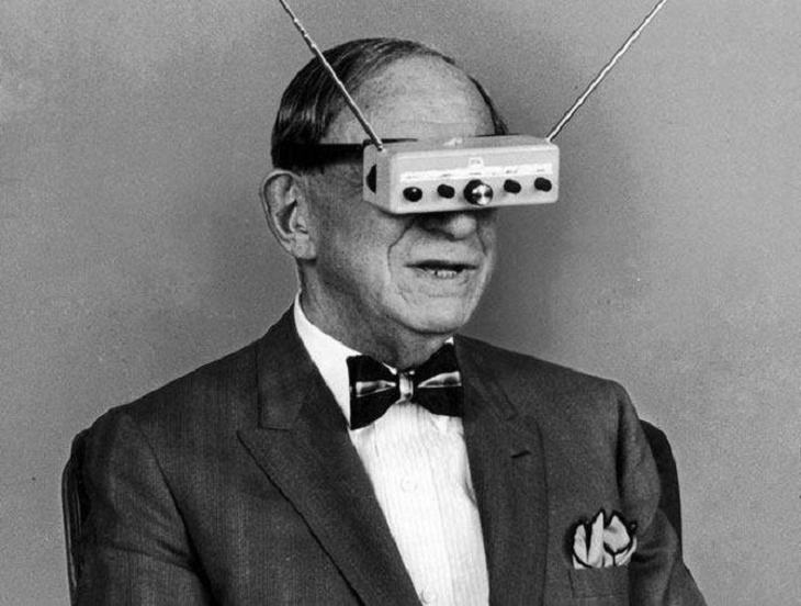 Hugo Gernsback, a Luxembourg-American inventor, writer, editor and magazine publisher. Here he is seen wearing his TV glasses invention.