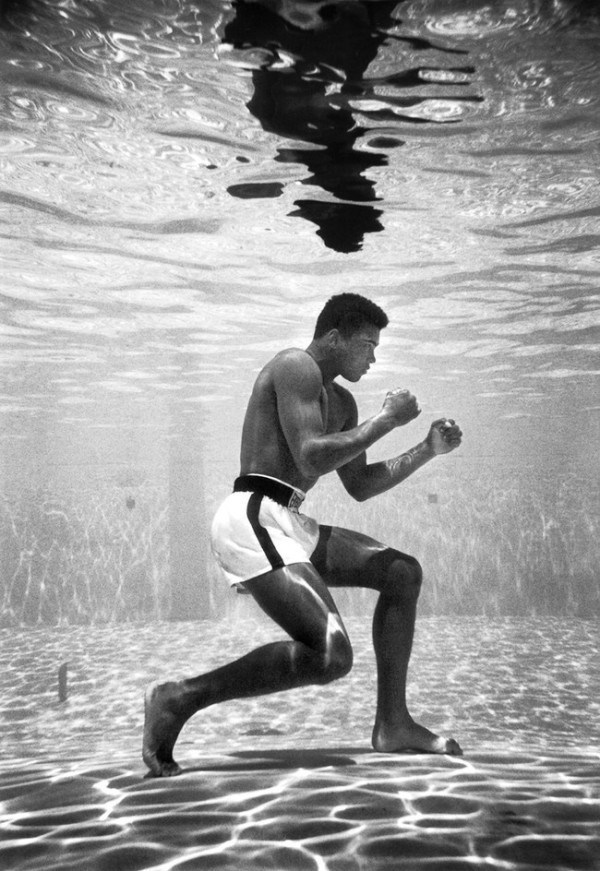 "Muhammad Ali, then still Cassius Clay, ""trains"" in a pool at the Sir John Hotel in Miami [1961]."