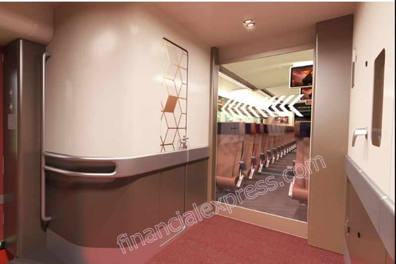 Train 18 will have automatic interconnecting doors and the connecting areas will be spacious for easy movement.