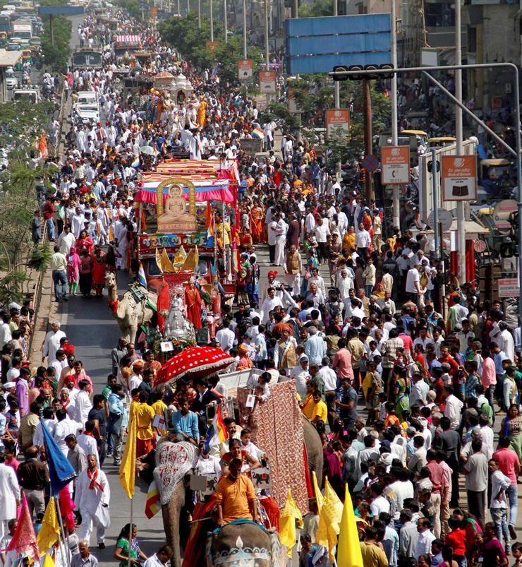 People from Jain community take part in religious procession on Mahavir Jayanti, the Birth Anniversary of God Mahavir in Ahmedabad.