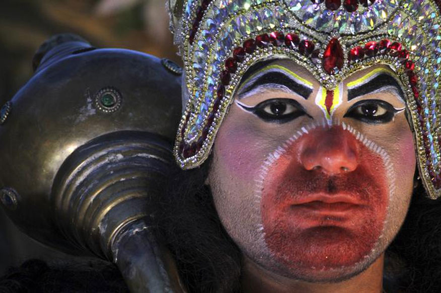 An artist dressed as the Hindu monkey god Hanuman takes part in a religious procession on the occasion of Hanuman Jayanti festival at Ajmer.
