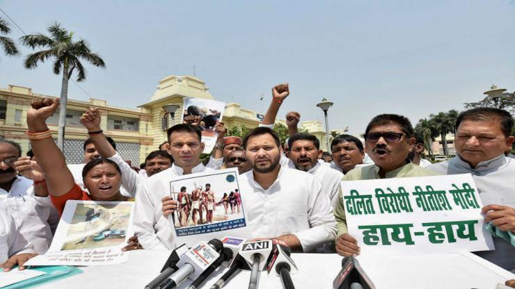 RJD leader of opposition Tejashwi Yadav with MLA