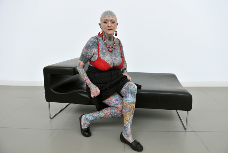 Septuagenarian Isobel Varley poses during
