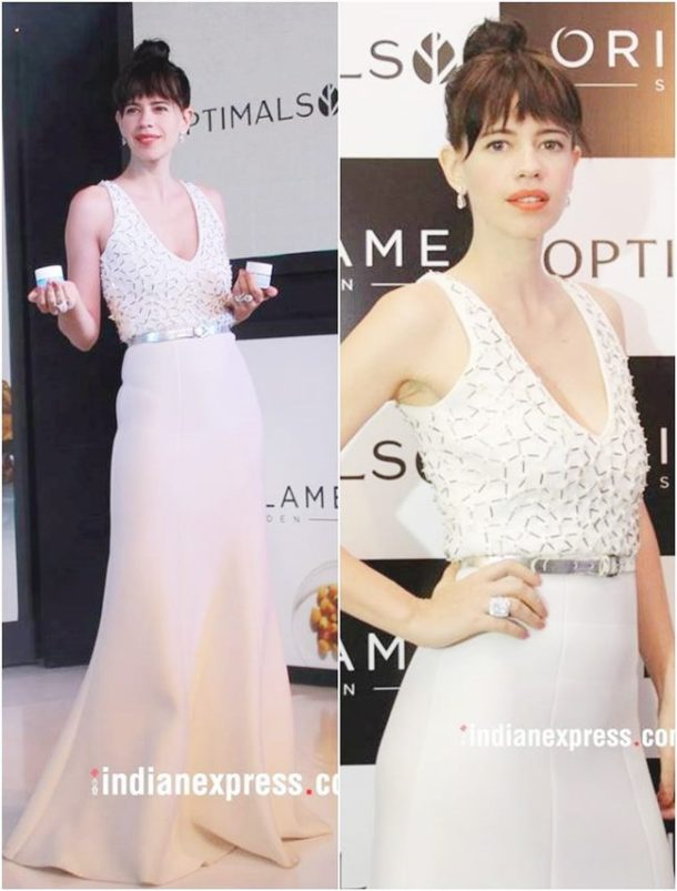 HIT: Kalki Koechlin, who was at an event launch was dressed in a lovely ivory gown from designer Anand Bhushan.