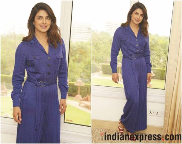 HIT: Priyanka Chopra, who was recently seen attending the UNICEF press conference in Delhi, was clad in a striking electric blue jumpsuit from Missoni's Spring/Summer'18 collection.