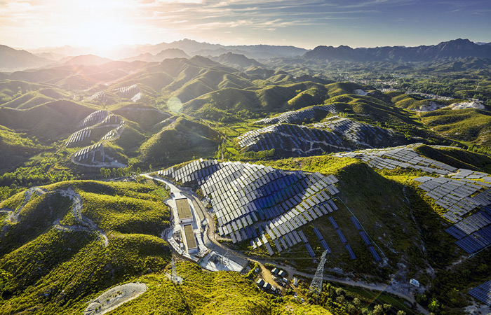 13.Solar panels cover south-facing hillsides in a part of rural China.
