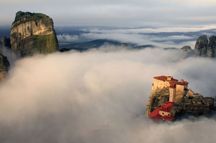 13.The Rousanou Monastery above a mist-filled valley. #