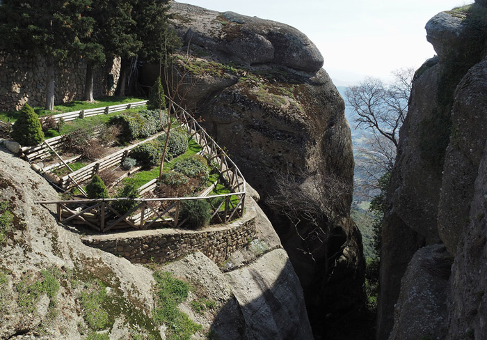 14.A small kitchen garden built precariously on a huge eroded granite boulder outside the Monastery of St. Stephen. #