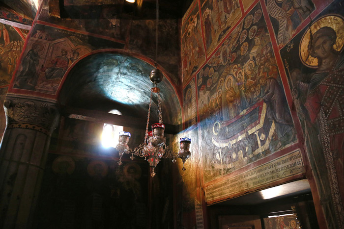 15.The interior of the church of the Nunnery of Saint Roussanou, photographed on May 14, 2013. #