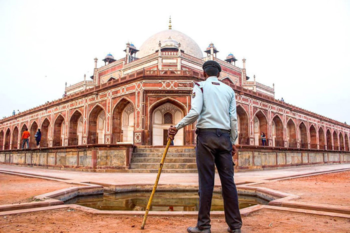 A guard on duty at Humayun