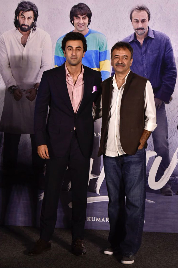 Ranbir Kapoor and Rajkumar Hirani pose together during the trailer launch of