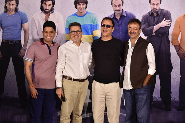 Bhushan Kumar, Fox Star Studios India CEO Vijay Singh, Vidhu Vinod Chopra and Rajkumar Hirani attend the trailer launch of
