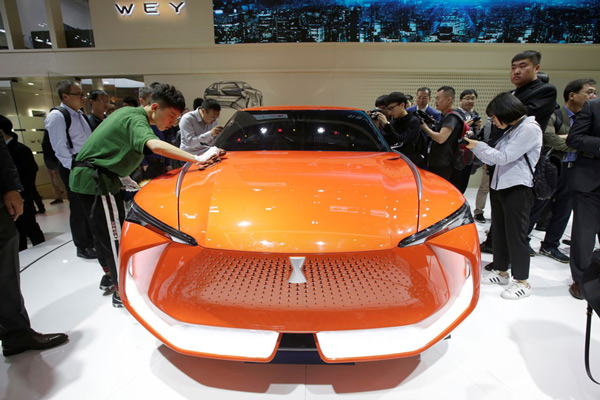 A WEY X concept car is displayed at a news conference during a media preview of the Auto China 2018 motor show in Beijing, China.