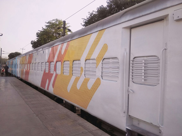 The coaches with the new colour scheme are parked at New Delhi railway station for inspection.