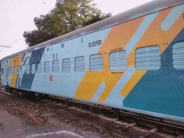The coaches with the new colour scheme were inspected by Railway Minister Piyush Goyal, Railway Board Chairman Ashwani Lohani, and other senior officials at the New Delhi Station on April 25, 2018.