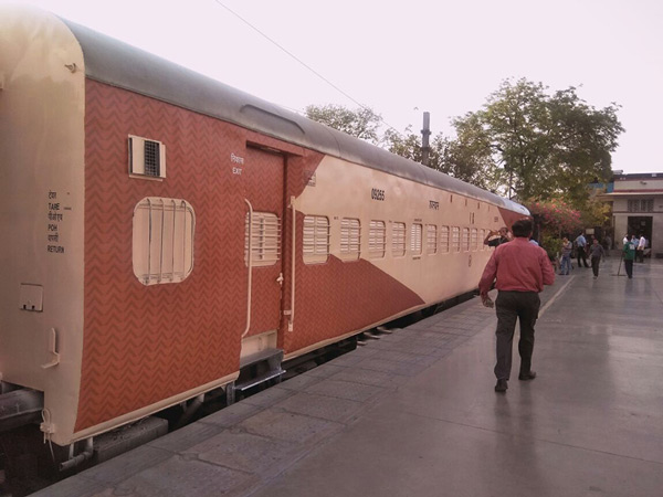 The coaches with the new colour scheme at New Delhi railway station.