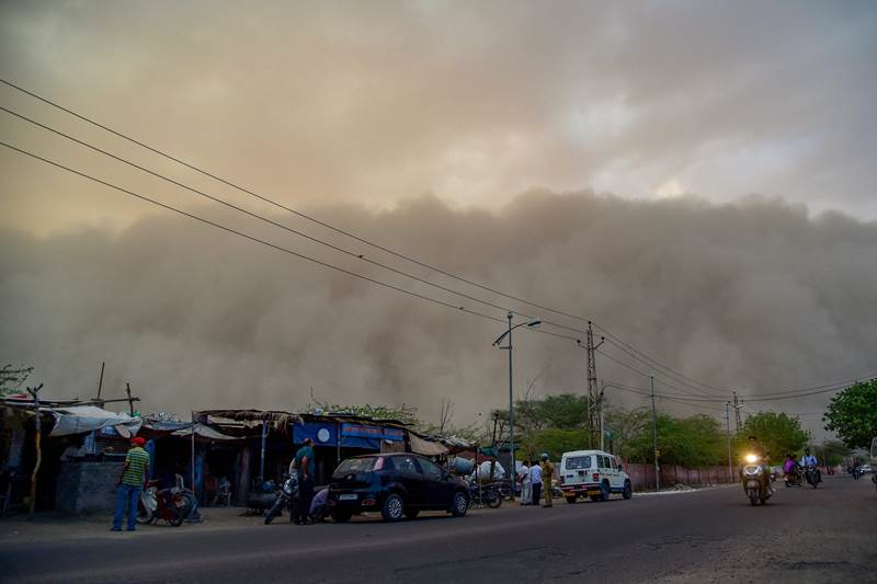 A dust storm was seen building up over the city of Bikaner on Monday.