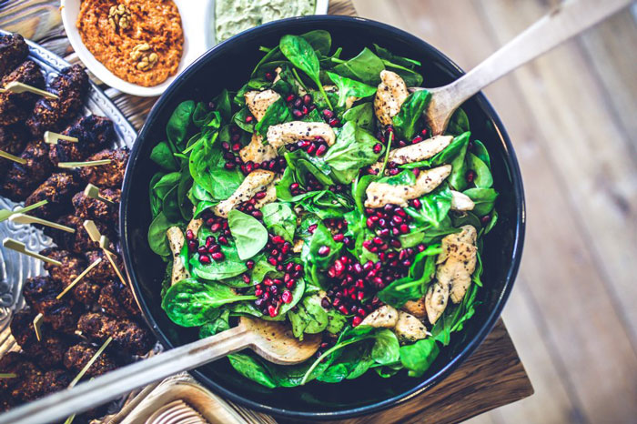 9. Spinach, Chicken and Pomegranate Salad