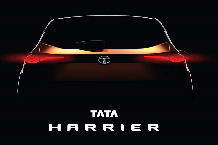 Tata Harrier rear profile teased.