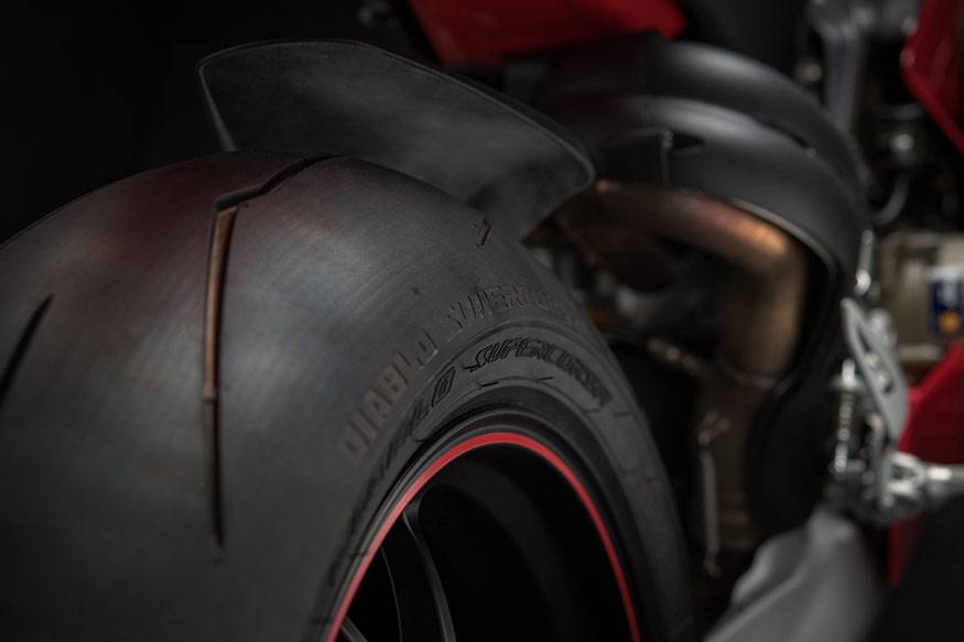 Ducati Panigale V4 gets specially made Pirelli tyres which are the closest replica of a proper race tyre and yet road legal, in the world.