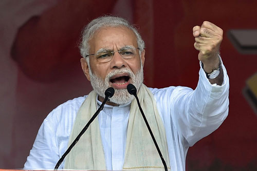Prime Minister Narendra Modi addressing during a rally of