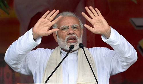 Prime Minister Narendra Modi addresses during