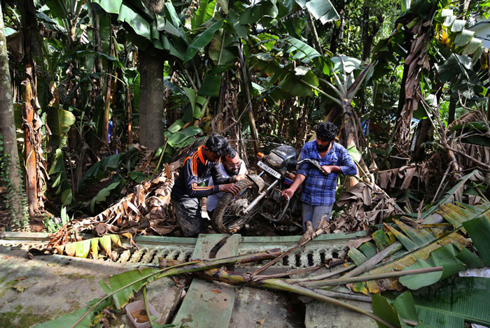 Residents remove a motorcycle stuck between banana plants in a flood affected area in Kochi.
