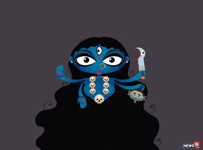 Mata Kaalratri: Kaalratri or Kali is worshipped on the seventh day of Navaratri. She is one of the lividest forms of Durga. Kaalratri is the one who destroys ignorance and removes darkness. This form primarily depicts the darker side of life - Mother Nature