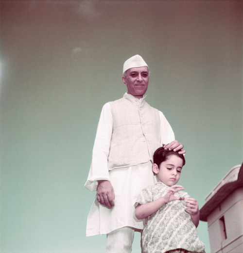 Pandit Nehru in Delhi with his grandson Rajiv Gandhi.