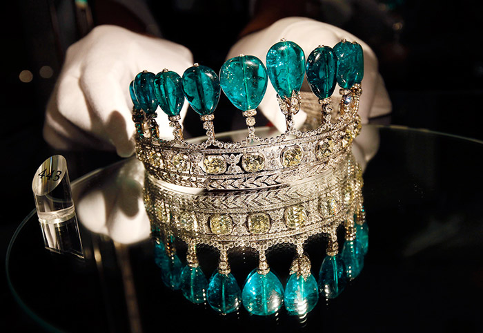 An emerald and diamond tiara - The tiara is estimated to sell for CHF 4.6-9.2 million ($5-10 million).