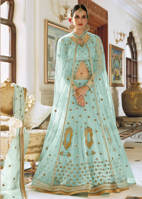 8. Add a shear cape to your lehenga set to completely change the look of your outfit.
