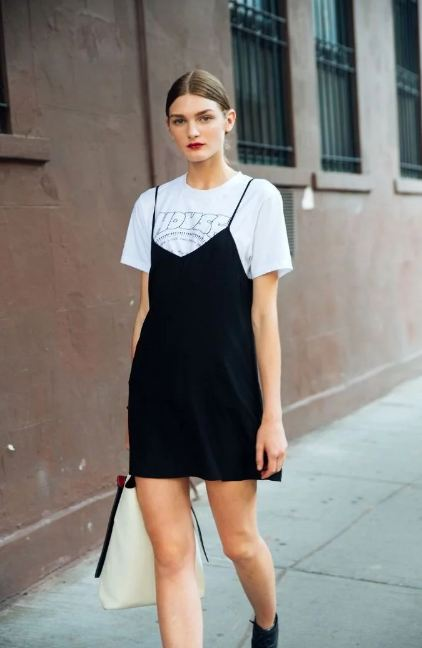 8. Put on a slip dress and team it up with an over sized t-shirt to make heads turn.