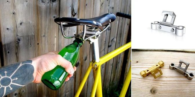 8. Bicycle  Yes, why not bicycle seat? Just grab the nearest bicycle, lift kid off bicycle, and pop open your fizzy.
