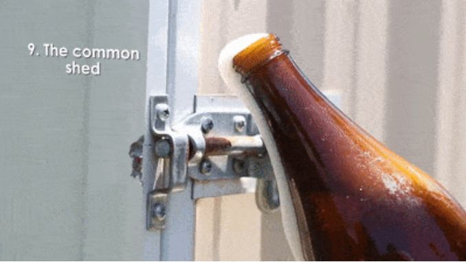 14. Bolt The thirst can strike anywhere, indoors, outdoors, whilst gardening, wherever. In that case,  a door bolt can also serve as a bottle-opener.