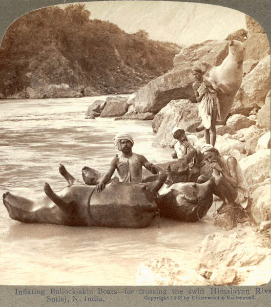 Inflating bullock-skin boats to cross the river — Banks of the Sutlej