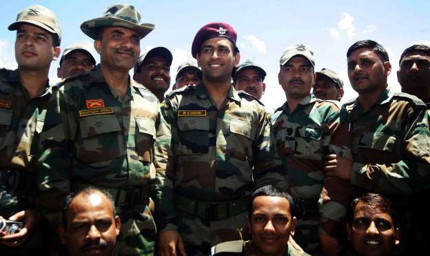 Commissioned in the Indian Territorial Army, Mahendra Singh Dhoni became Lieutenant Colonel in 2011. Here is Dhoni posing with army officers near Indo-Pak Line of Control.