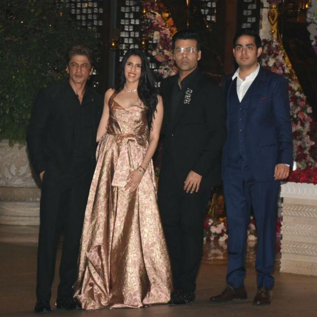 SRK and Karan Johar also posed with Akash and Shloka.