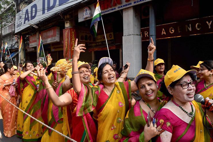 Members of Jain Community participate in a religious rally to celebrate Mahavir Jayanti in Kolkata.