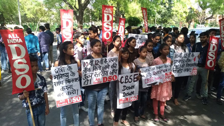 CBSE students protest over the alleged paper leak, at Jantar Mantar in New Delhi.