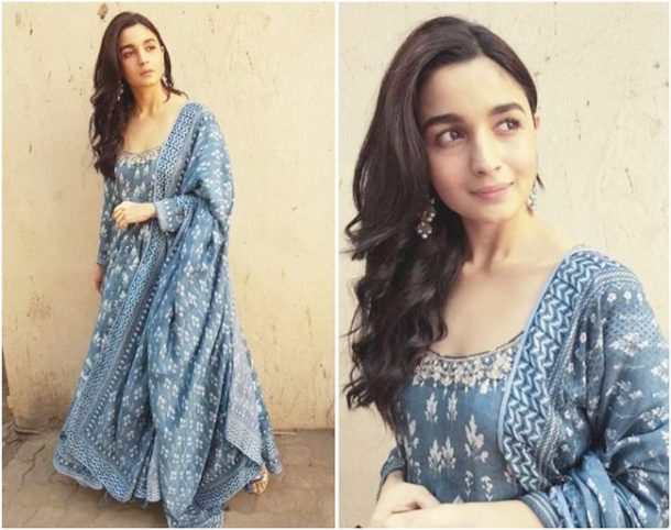 HIT: Alia Bhatt stepped out in an Anita Dongre anarkali set recently, and we couldn't help but admire Bhatt's understated style statement, which we think was ideal to step out on a warm summer day.