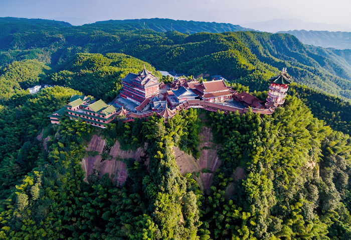 6.Longyin Temple, overlooking the Shunan Bamboo Sea in Yibin, Sichuan Province, China.