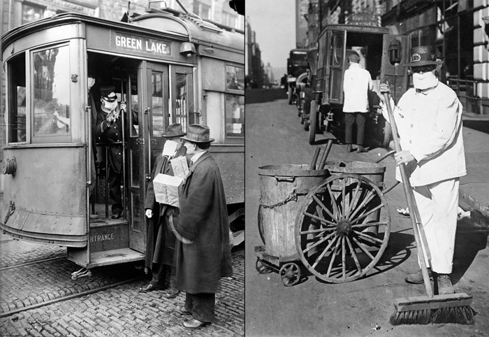 "6.Left: A conductor checks to see if potential passengers are wearing required masks in Seattle, in 1918. Right: A mask is worn by a street sweeper in New York in 1918. The admonition of the New York Health Board to wear masks to check the spread of influenza epidemic was: ""Better ridiculous than dead."" #"