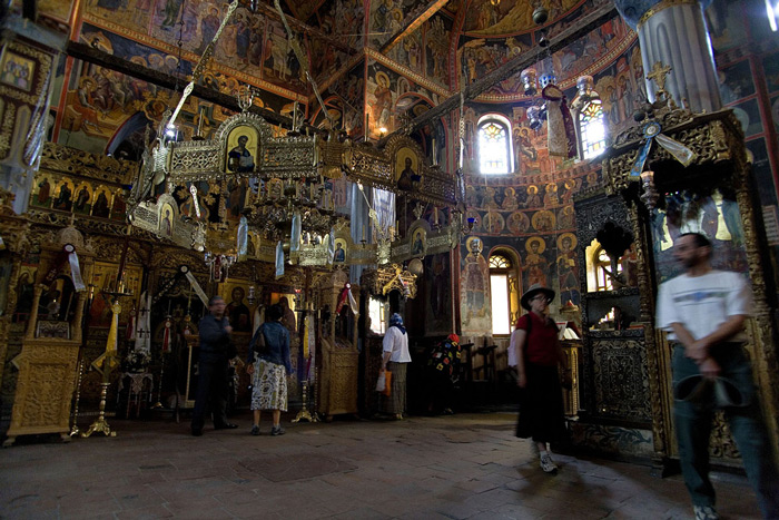 6.Visitors look inside the Megalo Meteoro Monastery. #