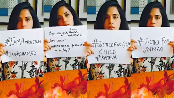 Masaan actress Richa Chadha shared a video on her Twitter account with the same messege, seeking justice for the victim.
