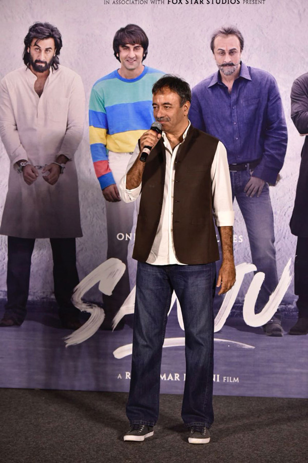 Rajkumar Hirani interacts with media during the trailer launch of