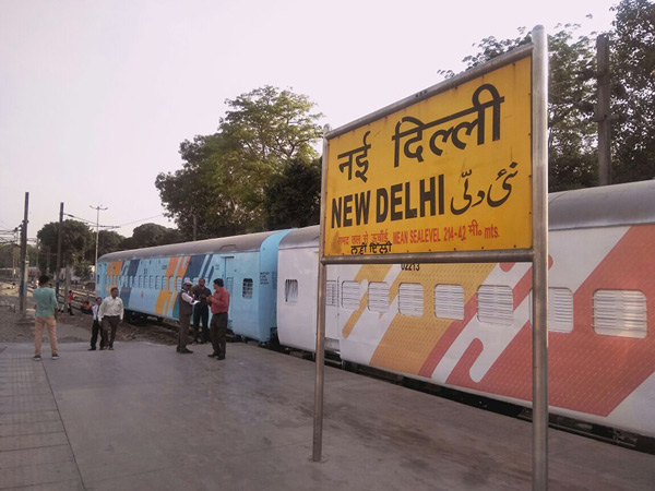 The coaches with the new colour scheme are parked for inspection at New Delhi Railway Station.