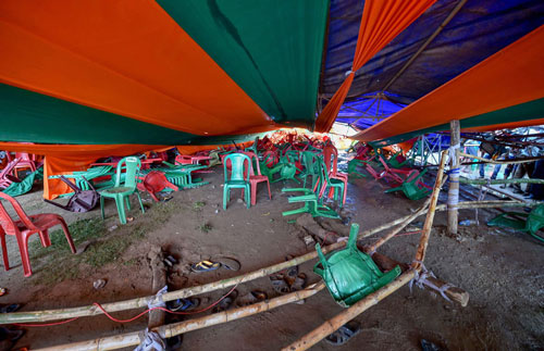 A scene after a makeshift tent collapsed during Prime Minister Narendra Modi