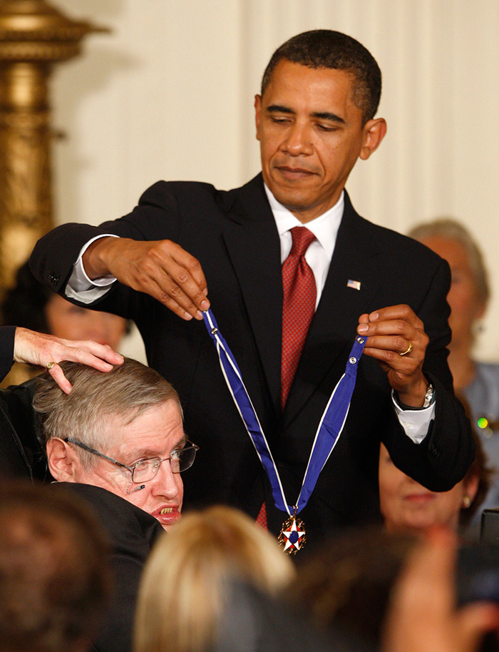 Barack Obama honouring scientist Stephen Hawking the nation