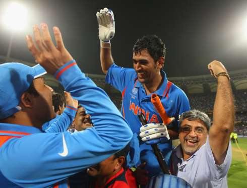 Here is Dhoni after hitting the winning runs in the ICC World Cup 2011 finals against Sri Lanka at Wankhede Stadium, Mumbai.